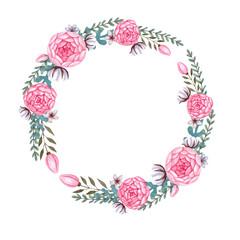 Watercolor pink flowers Floral Wreath Peony Flowers