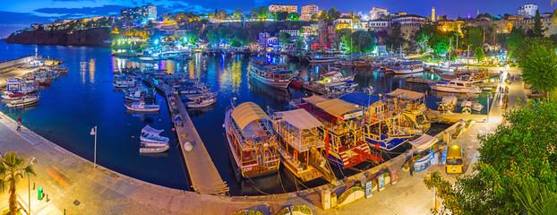 Evening panorama of Kaleici harbor, Antalya, Turkey
