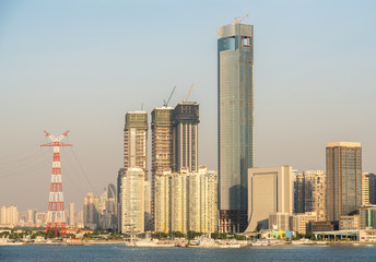 Panorama of the city skyline of Xiamen in China from the ocean