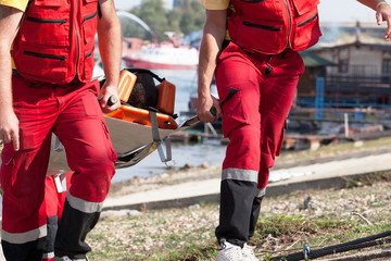 Paramedics in a rescue operation after drowning