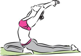 yoga stretching woman vector illustration
