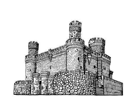 Graphical Manzanares el Real Castle isolated on white background, 15 century fortress, Madrid,Spain.Vector illustration