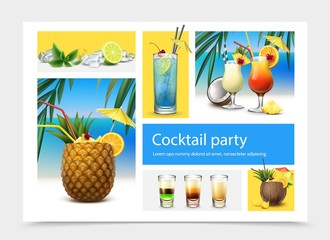Realistic Cocktail Party Concept
