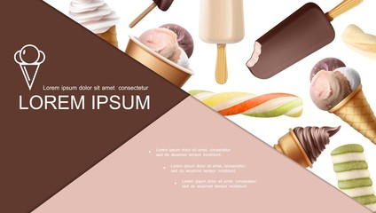 Realistic Ice Cream Colorful Composition