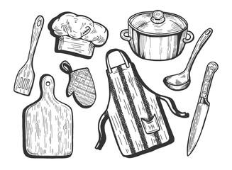 kitchen utensils set - fototapety na wymiar