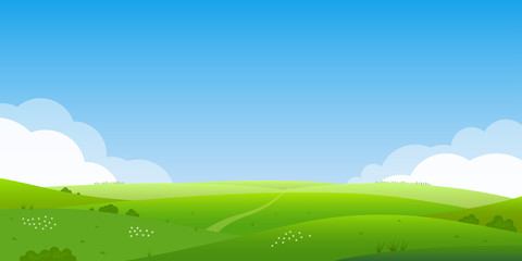 Deurstickers Blauw Summer landscape background. Field or meadow with green grass, flowers and hills. Horizon line with blue sky and clouds. Farm and countryside scenery. Vector illustration.