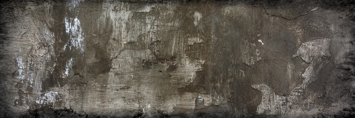 surface of the wall with old cement plaster covered with stains and cracks, stained. Web banner. Fototapete