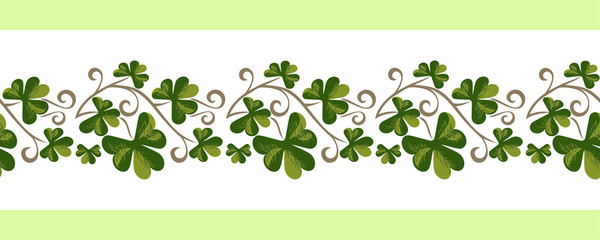 Shamrock pattern seamless border isolated. Hand drawn vintage garland design element. Vector doodle green foliage of clover leaves. St Patricks Day background decorative shamrock ornament illustration
