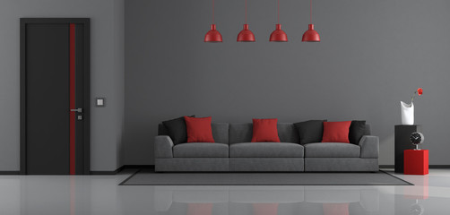 Gray,black and red modern living room