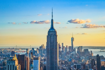New York City skyline during the sunset from the Top of the Rock (Rockefeller Center), United States      Wall mural