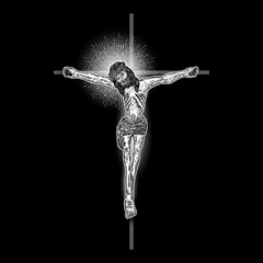 Jesus Christ on the cross with Rays of halo light and beams, symbol of saint. Crucifix drawing. Art tattoo reference template on black background. Religion pride and glory. Good Friday Vector.