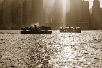 Retro passenger ships in Hong Kong harbour.