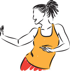 fitness pretty woman dancing vector illustration