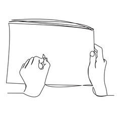 hands of the artist draw in the album