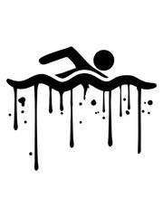 tropfen graffiti nass farbe cool logo design schwimmen piktogramm baden schwimmbad sport spaß wasser wellen tauchen hallenbad clipart schwimmer