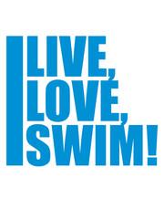 text live love swim schwimmen liebe symbol urlaub meer ferien wasser wellen cool logo design piktogramm baden schwimmbad sport spaß tauchen hallenbad clipart schwimmer