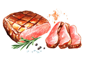 Grilled sliced beef steak with spices. Watercolor hand drawn illustration, isolated on white background