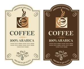 collection of coffee labels with branch, beans and cup