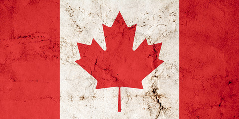 Flag of Canada with old dirty grunge texture