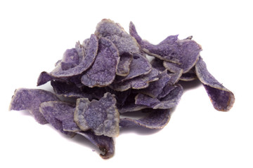 Blue potatoes chips on a white background