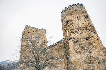 Ananuri castle complex on the Aragvi River winter view in Georgia. Europe.