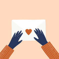 Love letter and hands vector hand drawn illustration