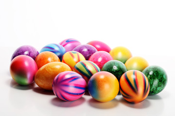 Row of Easter eggs on table. easter decoration