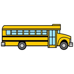 School Bus Passenger Side - A vector cartoon illustration of a School Bus Passenger Side.