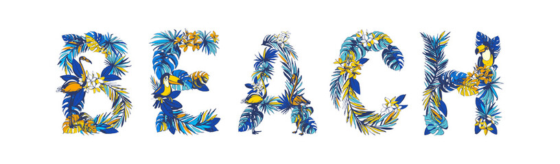 illustration Tropical floral summer lettering hand drawn BEACH