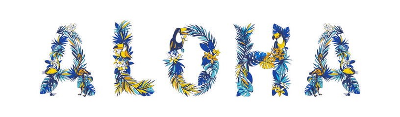 illustration Tropical floral summer lettering hand drawn ALOHA