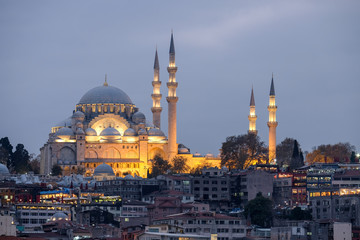Illuminated Suleymaniye Mosque in Istanbul during the blue hour.
