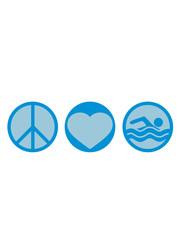 schwimmen liebe peace zeichen symbol herz urlaub meer ferien wasser wellen cool logo design piktogramm baden schwimmbad sport spaß tauchen hallenbad clipart schwimmer