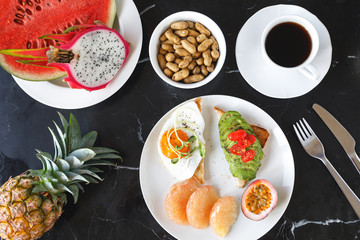 Healthy and delicious breakfast on the table