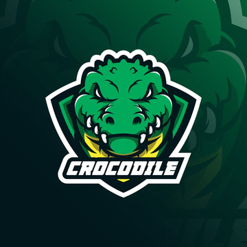 crocodile mascot logo design vector with modern illustration concept style for badge, emblem and t shirt printing. head crocodile illustration with shield.