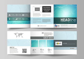 The abstract minimalistic vector illustration of the editable layout. Two creative covers design templates for square brochure. Futuristic high tech background, dig data technology concept.