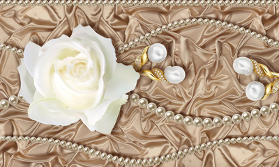 3D wallpaper, white rose, Jewelry and pearls on beige silk background