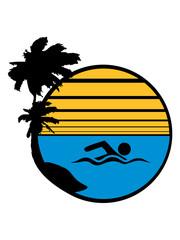 rund kreis wasser meer urlaub palmen insel strand ferien wellen cool logo design piktogramm baden schwimmbad sport spaß tauchen hallenbad clipart schwimmer