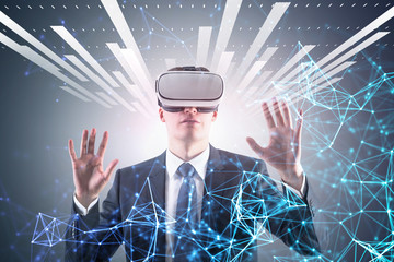 Man in vr glasses, interface and network