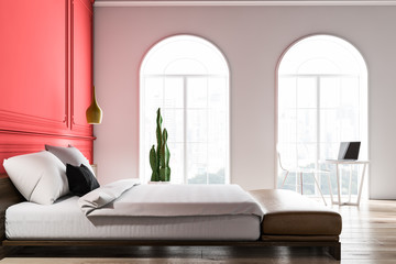 Side view of white and red bedroom