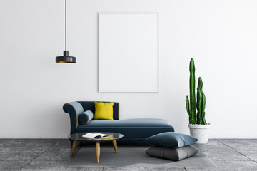 White living room, sofa and poster