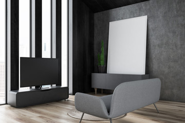 Gray living room corner, sofa, tv and poster