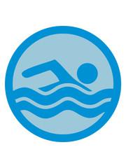 rund kreis schwimmen liebe symbol urlaub meer ferien wasser wellen cool logo design piktogramm baden schwimmbad sport spaß tauchen hallenbad clipart schwimmer