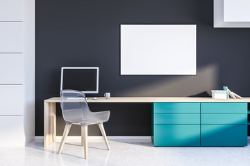 Gray home office with poster