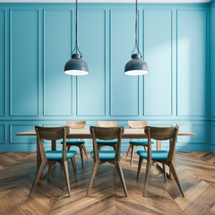 Blue dining room interior with panels