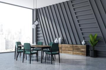 Gray dining room corner