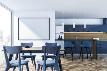 Blue panoramic kitchen, horizontal poster