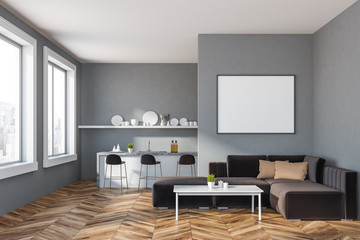 Gray kitchen with bar and sofa, poster