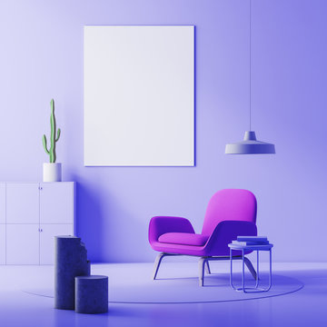 Purple living room, armchair and poster