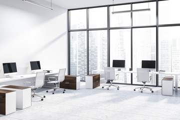 White panoramic office corner, wooden tables