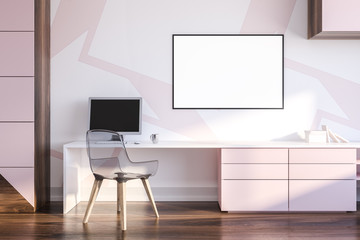 Pink and wooden home office interior, poster